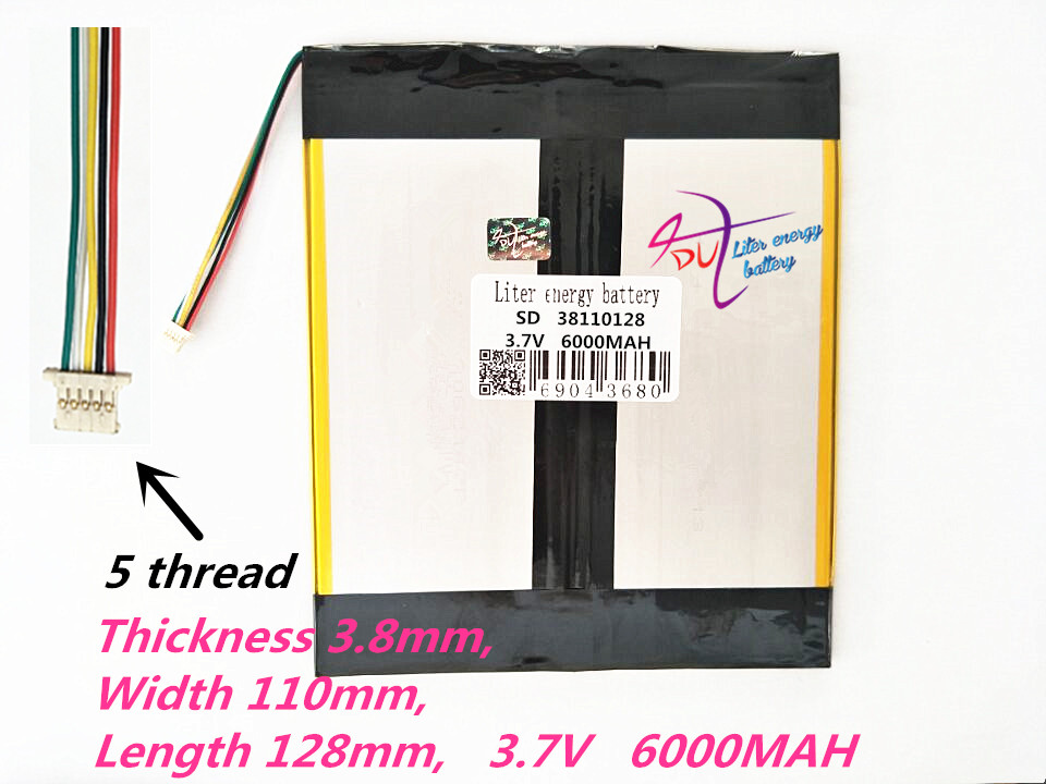 5 thread 38110128 <font><b>Tablet</b></font> PC <font><b>battery</b></font> capacity 40110130 <font><b>3.7V</b></font> 6000mA Universal Li-ion <font><b>battery</b></font> <font><b>for</b></font> <font><b>tablet</b></font> pc 7 inch 8 inch 9inch image