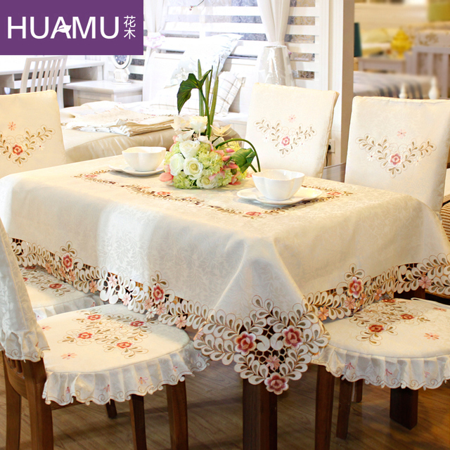 Grade Embroidered Top Dining Table Cloth Thick Warm Chair Covers Cushion Art Luxurious Lace
