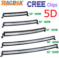 RACBOX 5D 22 32 42 50 52 inch 200W 300W 400W 500W Curved LED Work Light Bar Offroad Camper 4WD Truck Tractor Boat SUV CREE Chips