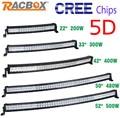 Racbox 5d 22 32 42 50 52 polegada 200 w 300 w 400 w 500 w curvo Trabalho LED Light Bar Offroad Campista 4WD Caminhão Trator Boat SUV CREE Chips