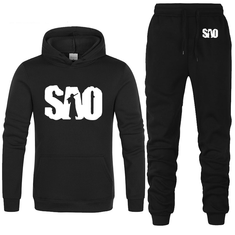 SAO Sword Art Online Printed Hoodies Men Casual Sweatshirt Harajuku Fashion Fleece Unisex Streetwear Men Hoodies Pants Suit 2Pcs