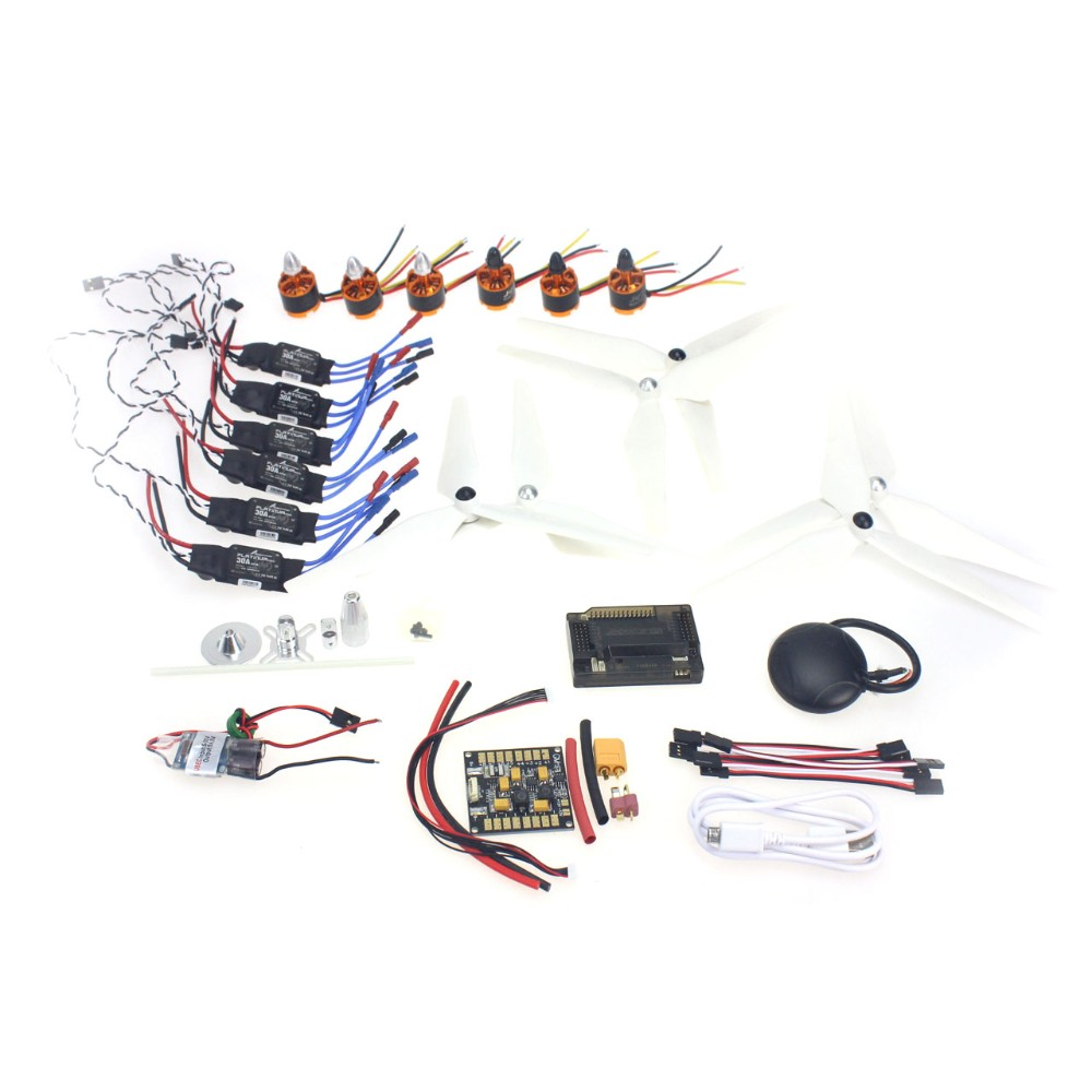6-axis DIY GPS Drone Electronic:920KV Brushless Motor 30A ESC BEC Self-locking Propeller GPS APM2.8 Flight Control F15843-C 30a esc bec 920kv brushless motor carbon firber propeller gps apm2 8 flight control for 4 axis diy gps drone
