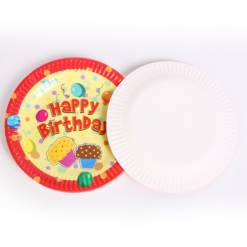 10Pcs/Pack Different Kinds of Birthday Party Supplies Set Plates Napkins Cups Tableware Kit for 10 People