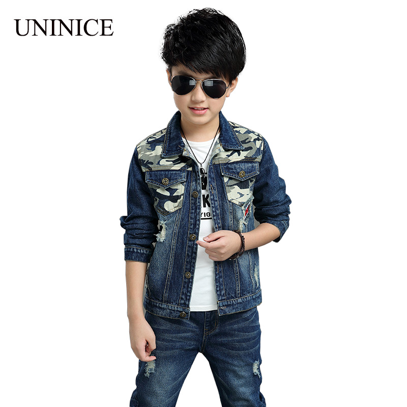 UNINICE 2017 Children's Clothing Autumn Jacket+Pant 2PCS Teenager Boys Sport Suit Casual Fashion Denim Long Sleeve Kids Clothes цена и фото