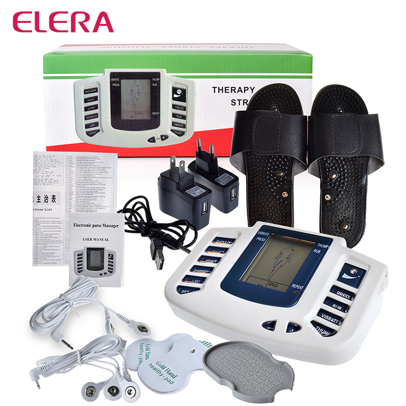 ELERA Electrical Muscle Stimulator Body Relax Slimming Massager massage pulse tens Acupuncture Therapy Machine electric stimulator full body relax muscle therapy massager pulse tens acupuncture foot neck back massage slimming slipper 8 pad
