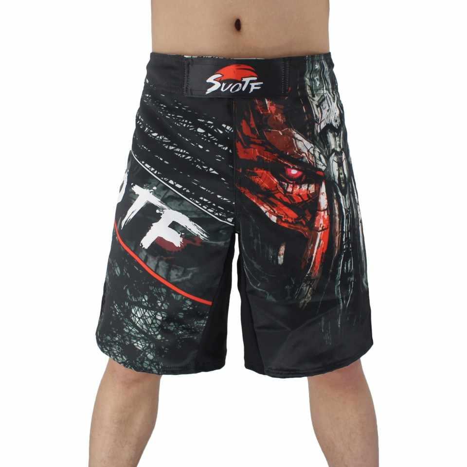 Pria Hitam Biru Pertarungan Tinju Kebugaran Bernapas Cepat Kering Celana Tinju Celana Pendek Celana Pendek Muaythai Tiger Muay Thai Celana Pendek Mma boxeo