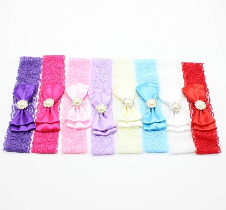 2017 newborn headwear chiffon flower headband with pearl elastic turban lace headbands children's hair accessories