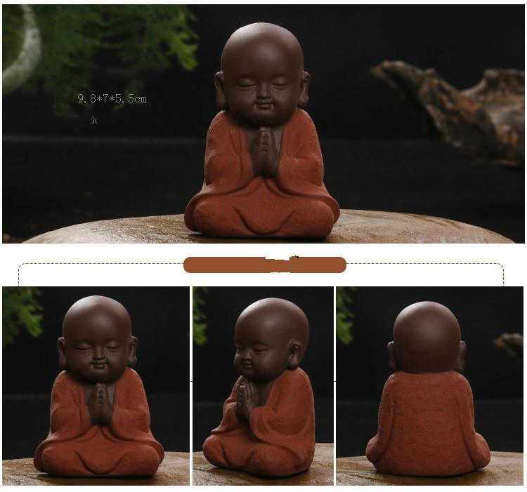 HTB1CPXLazDuK1RjSszdq6xGLpXa8 - Buddha Statues Small Monk Color Sand Ceramic Home Club Geomantic Decoration Purple  Figurine Tea Pet