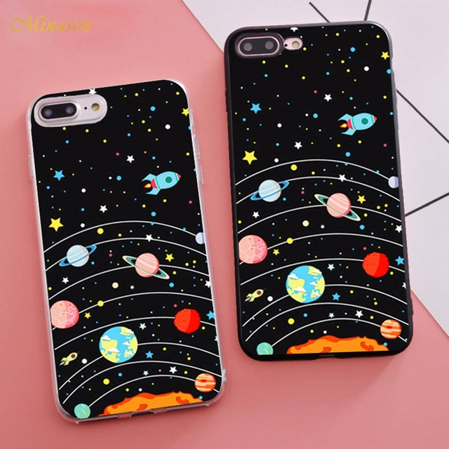 save off 149ca 1c8d8 US $3.99 |Minason 2018 Trending Coque Funny Outer Space Moon Planet Star  Soft Silicone Phone Case for iPhone X 5s SE 6 S 6s 7 8 Plus Cover-in Fitted  ...