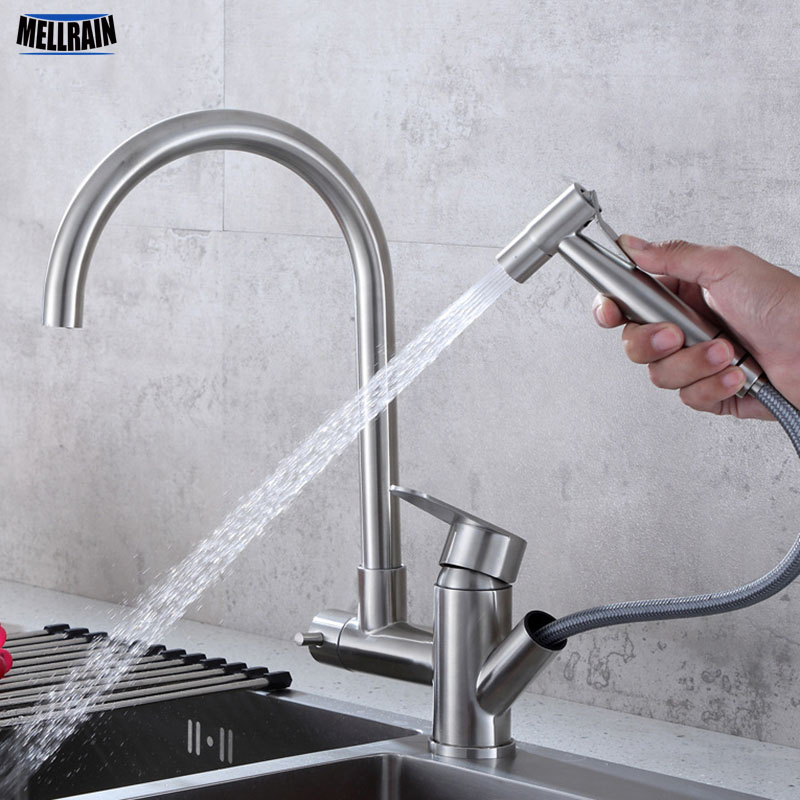 Multi-function Kitchen Water Mixer Faucet Pull Out Pressurize Hand Sprayer Stainless Steel Rotate Deck Mounted Single Hole Tap