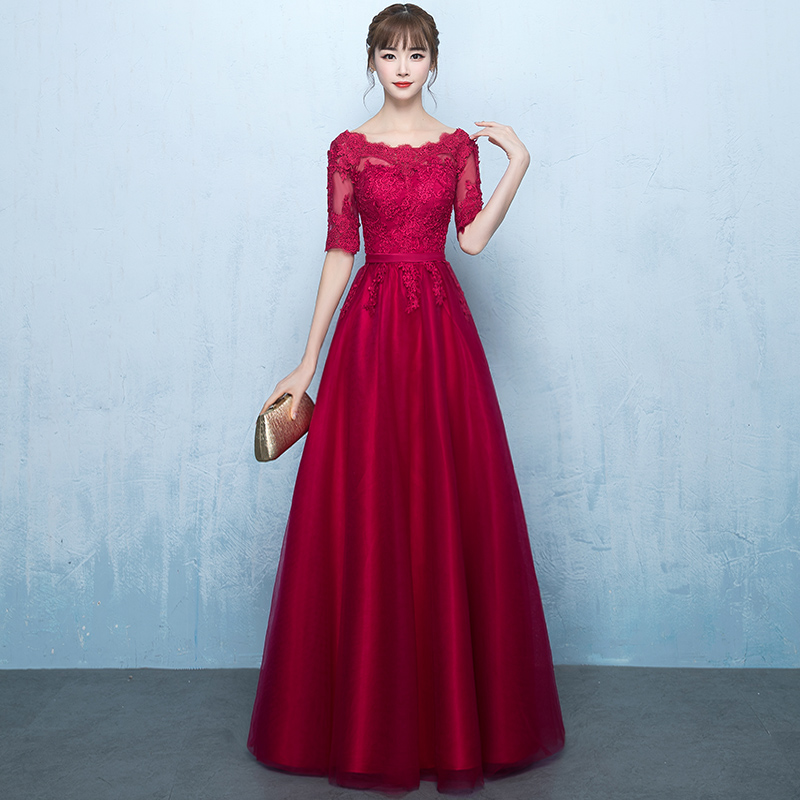 wine red shoulderless long party gowns appliques bandage