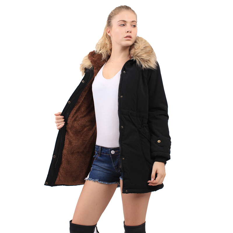 ФОТО TOP Quality Army Green Winter Coat Women Parka Faux Fur Coat Fashion Jacket For Female Casual Outerwear Warm Brand Style Parkas