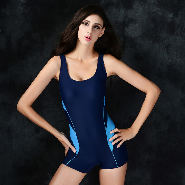 6e876fc511aa8 2016 New Women s One Piece Swimwear Bottom Boyshorts Female Sport  Professnional Swimsuit High Quality M-2XL