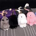 2016 New Gift Cute Rabbit Real Mink Fur Ball bunny Keychain Car Key Chain Ring Pendant For Bag Charm Headwear