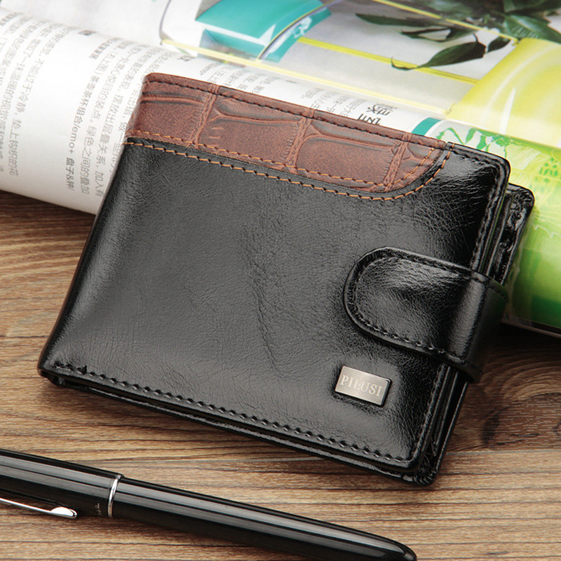 2019 New Patchwork Leather Men Wallets Short Male Purse With Coin Pocket Card Holder Brand Trifold Wallet Men Clutch Money Bag 4