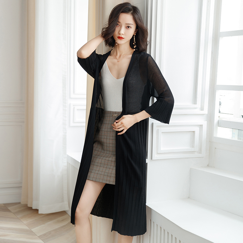 Easy Knit Sweater Cardigan Spring Summer season Trend Lengthy Cardigan Feminino Three Quarter Sleeve Sunscreen Coat Womens Clothes Cardigans, Low-cost Cardigans, Easy Knit Sweater Cardigan Spring Summer season Trend...