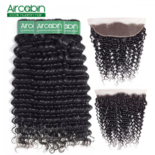 дешево!  Aircabin 3 Bundles Peruvian Deep Wave Bundles With Frontal Ear To Ear Lace Front With Bundle Non Remy Human Hair Free Shopping