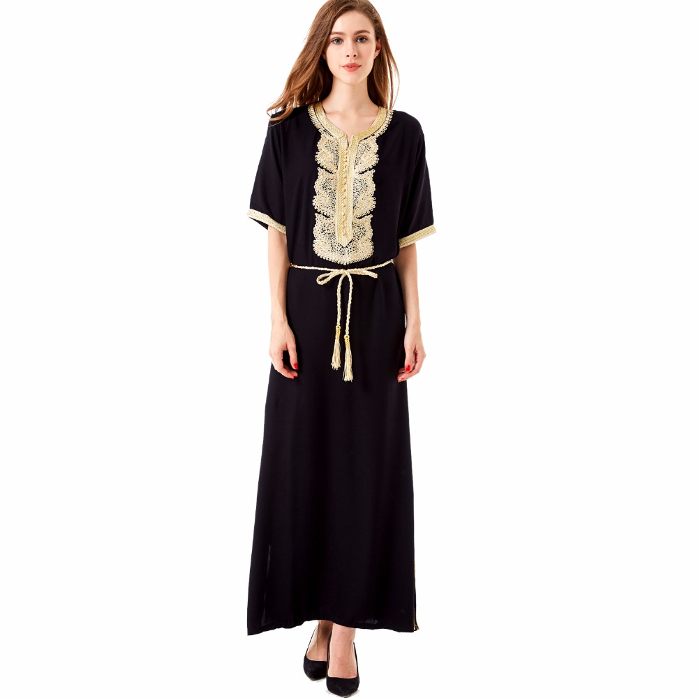 Women Bohemian Maxi Long dress casual loose Dress moroccan Kaftan Abaya Muslim robe embroidery dress ethnic vestidos 1604
