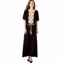 Для женщин чешские Макси длинное платье случайные свободные платья марокканской кафтан Абаи мусульманская одежда платье с вышивкой в этническом стиле Vestidos 1604