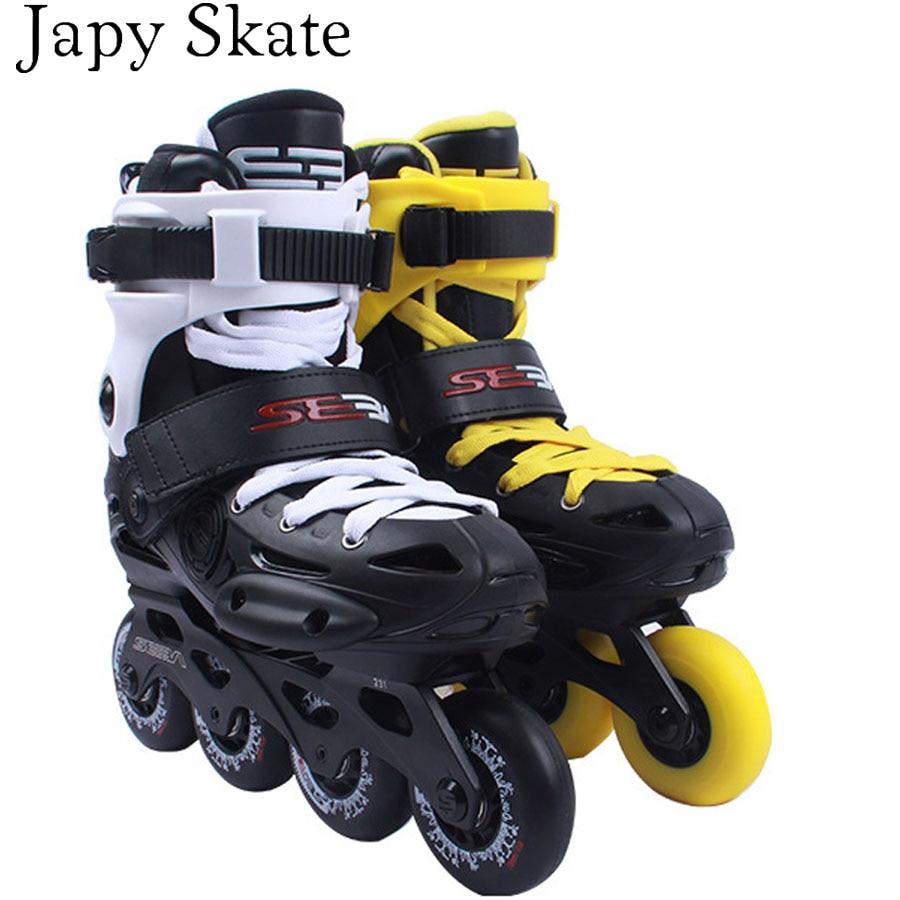 Japy Skate 2017 Original SEBA EB Professional Slalom Inline Skates Adult Roller Skating Shoes Sliding Free Skating Patines 8pcs 88a inline skate wheels with ilq 11 bearing 80mm braking slalom free skating sliding roller for seba patines tires japy