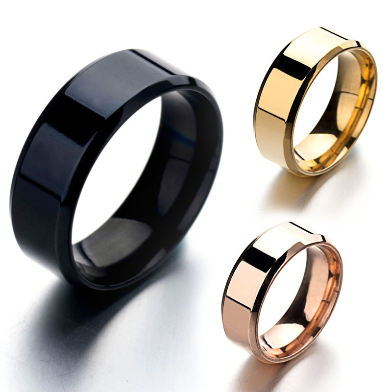 Full Size Real Stainless Steel Rings For Men Women Smooth Silver Gold Rose Gold Color Titanium