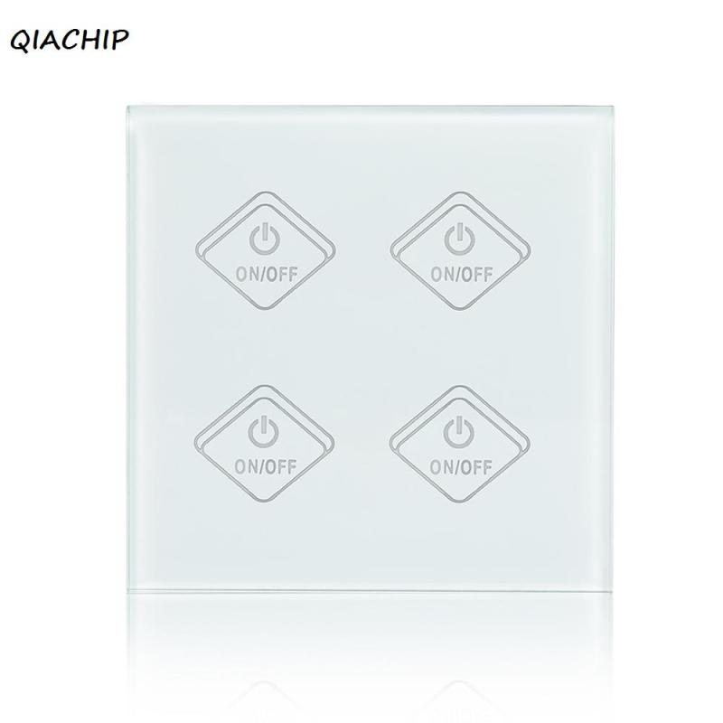 QIACHIP UK Plug 4CH Wall Wifi Light Switch Glass Panel Touch LED Lights Switch for Smart Home Wireless Remote Switch Control H3 2017 smart home crystal glass panel wall switch wireless remote light switch us 1 gang wall light touch switch with controller