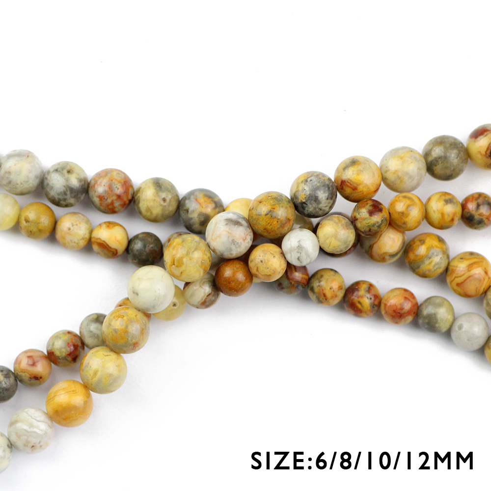 WLYeeS Wholesale Natural Stone Beads Crazy carnelian 6 8 10 12mm Round Loose Beads for Jewelry Bracelet Making DIY Accessories in Beads from Jewelry Accessories