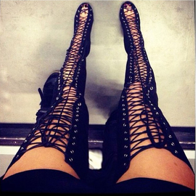 Sexy Black High Heels Gladiator Shoes Woman Peep Toe Lace Up Thigh High  Boots Summer Cut Outs Feminina Bota Over The Knee Sandal-in Over-the-Knee  Boots from ... ccd1fa9bb0dc