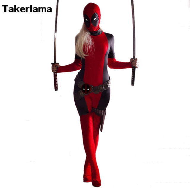 Takerlama Lady Deadpool Cosplay Costume Red Full Spandex Bodysuit Halloween Female Superhero Costume Zentai Suit On  sc 1 st  AliExpress.com & Takerlama Lady Deadpool Cosplay Costume Red Full Spandex Bodysuit ...