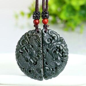 Image 3 - 100% Подвеска из натурального зеленого нефрита с резным китайским драконом ожерельлье Феникса для женщин и мужчин ювелирные изделия для влюбленных Бесплатная веревка