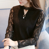 Debowa Lace Shirt Women Tops 2018 Spring New Women Blouses Full Sleeve O neck Bodycon Casual Blouse Plus Size Women Blusa