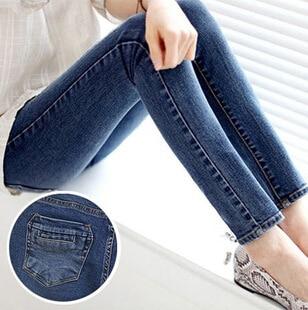 Free ship 2014 fashion 7Size  woman harem denim pants pencil jeansLady Tight Straight Trousers Jeans Mid-waist Blue Color SP14