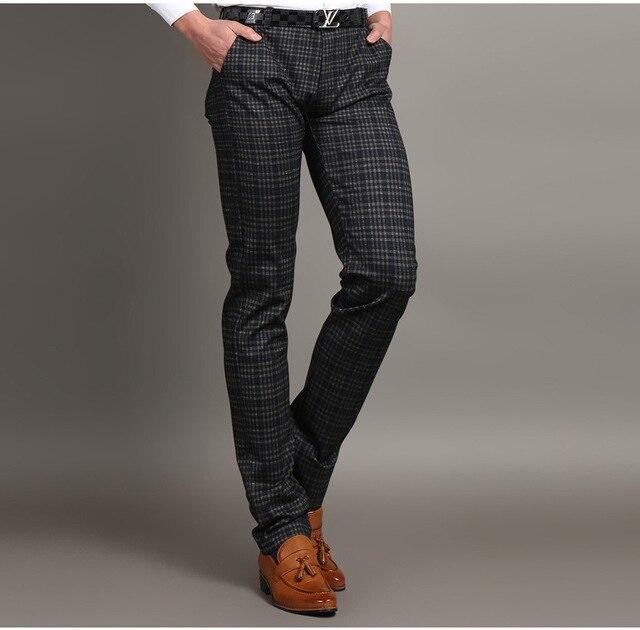 Aliexpress.com : Buy Mens Business Blue Plaid Dress Pants Spring ...