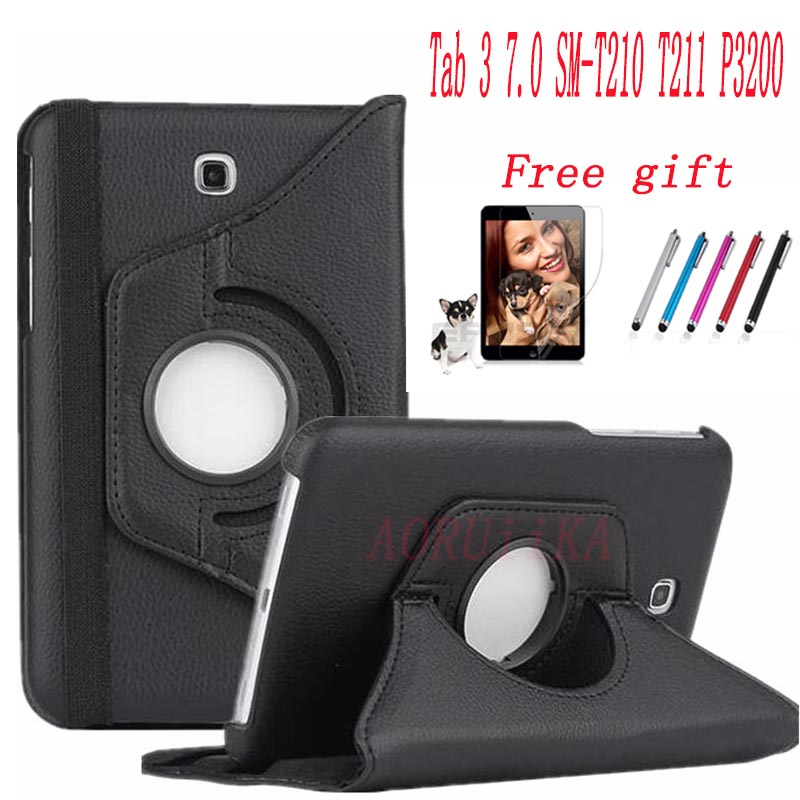 360 Degree Rotating PU Leather Cover for Samsung Galaxy Tab 3 7.0 SM-T210 T210 T211 T215 GT-P3200 Tablet Case+Screen film+stylus360 Degree Rotating PU Leather Cover for Samsung Galaxy Tab 3 7.0 SM-T210 T210 T211 T215 GT-P3200 Tablet Case+Screen film+stylus