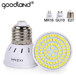 Lampada 48 60 80 leds smd 220 do bulbo 240 v 2835 v mr16 gu10 do diodo emissor de luz da lâmpada do diodo emissor de luz de goodland e27 para a luz interna do ponto da casa