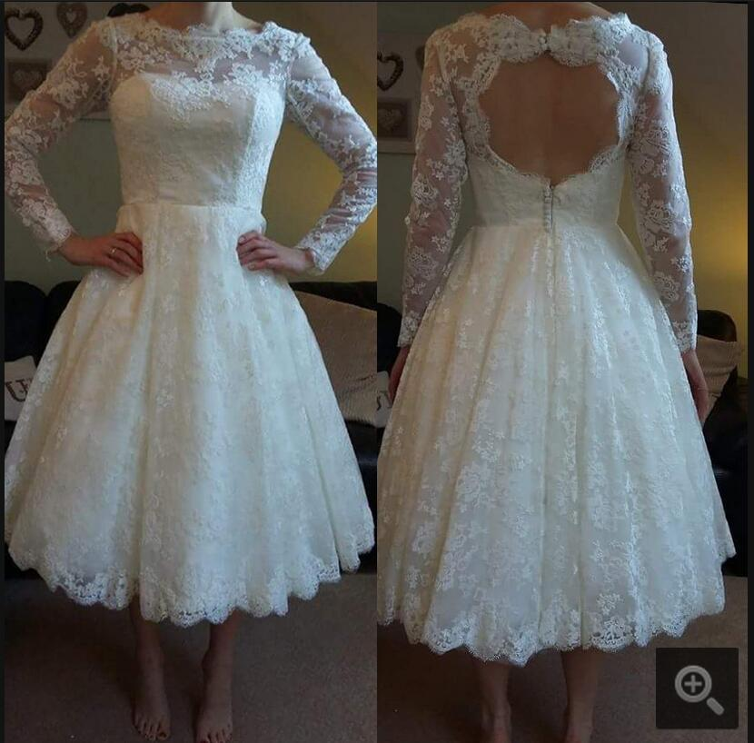White lace open back sexy short wedding dresses ankle for Ankle length wedding dress with sleeves
