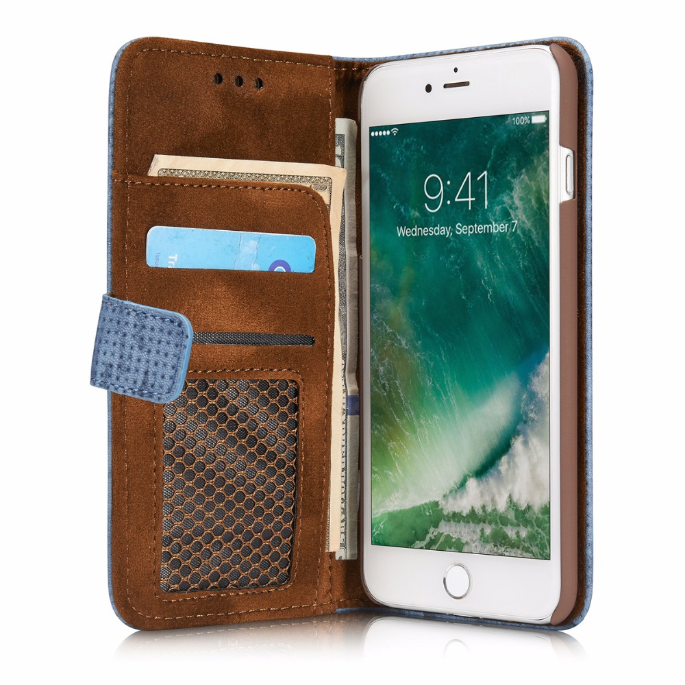 For iPhone 7 Plus 7Plus Phone Case Mesh Matte Leather Card Slots PU Vintage Flip Cover Capa For iPhone 7 iPhone7 7+ Funda Coque
