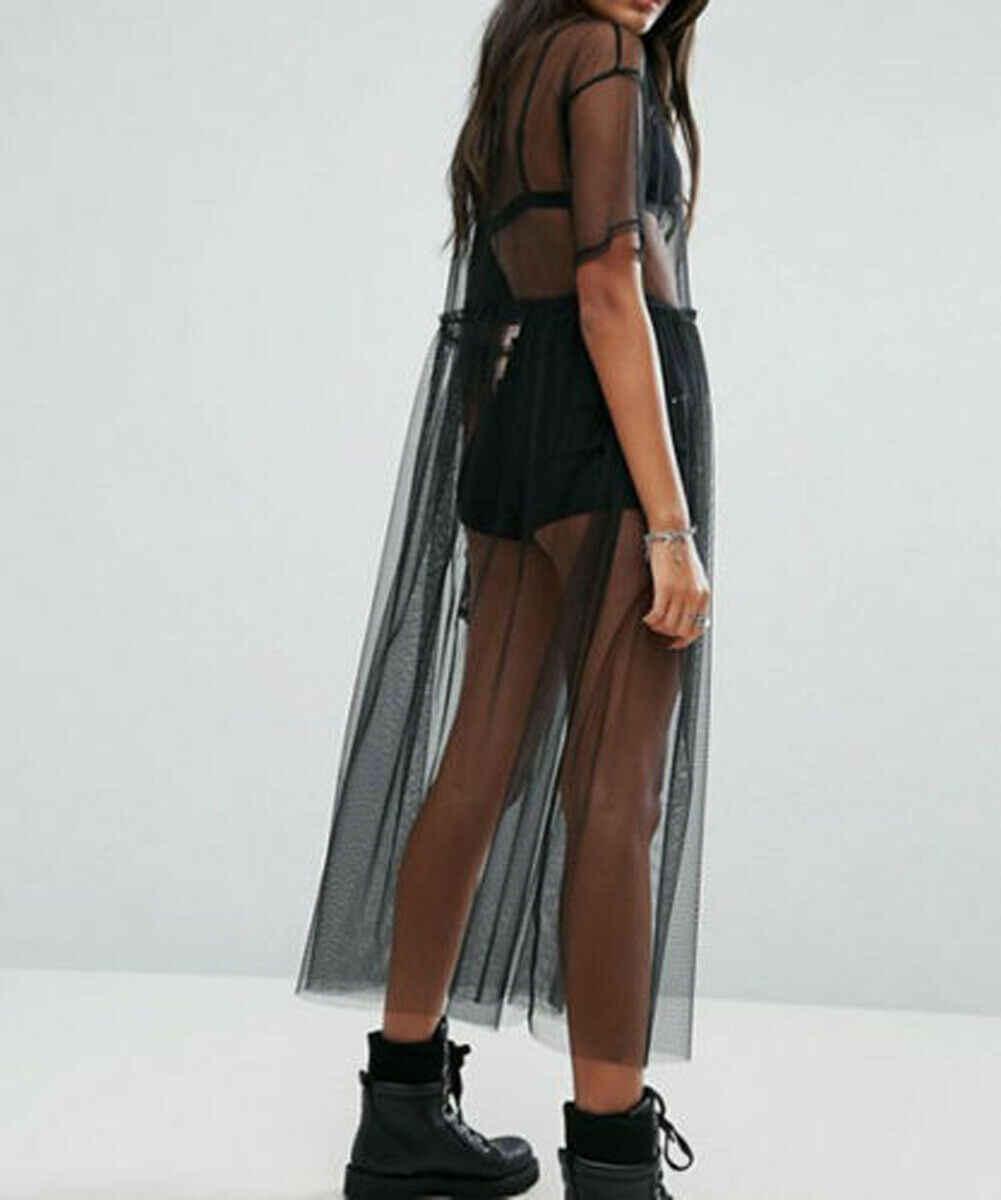Hirigin 2019 Marka Yeni Yaz Bayanlar Kadınlar Seksi Siyah Dantel Tül Tül See-through Mesh Şeffaf Maxi Elbise Orta elbise Şeffaf