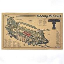 Chinook USA helicóptero de transporte militar pintura Vintage cartel de papel Kraft retro bar Café Pared de salón pegatina 42x30cm ZO-127