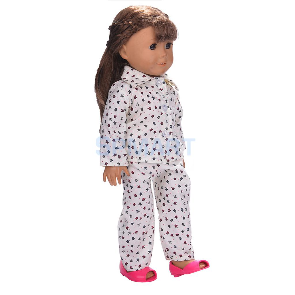Doll-Pajamas-Nightgown-Sleepwear-Clothes-Outfit-Top-Pants-Set-for-18-inch-American-Girl-Doll-3