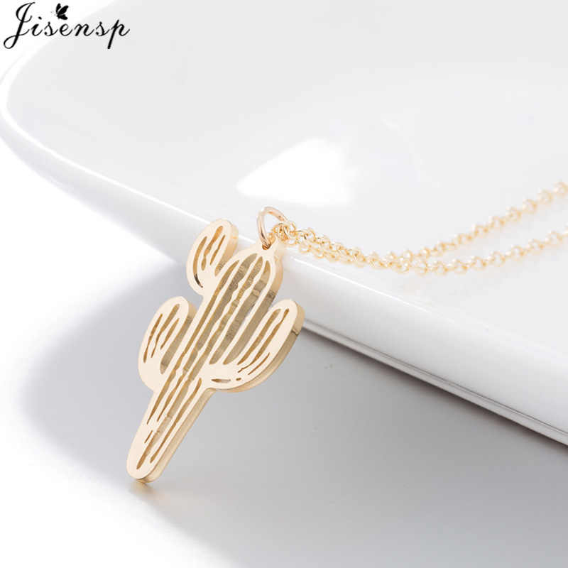 Jisensp Unique Desert Cactus Charm Necklace Simple Hollow Cactus Pendant Plant Jewelry for Women Travelers bijoux Gift 2019