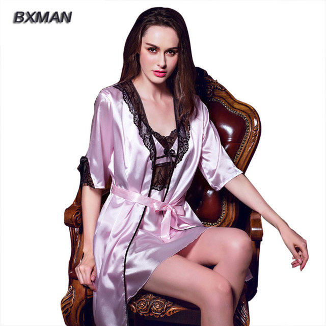 BXMAN Brand Top Sale Women bath robe and Nightgown 2 Piece Sexy Noble Robe Set  For Women 193