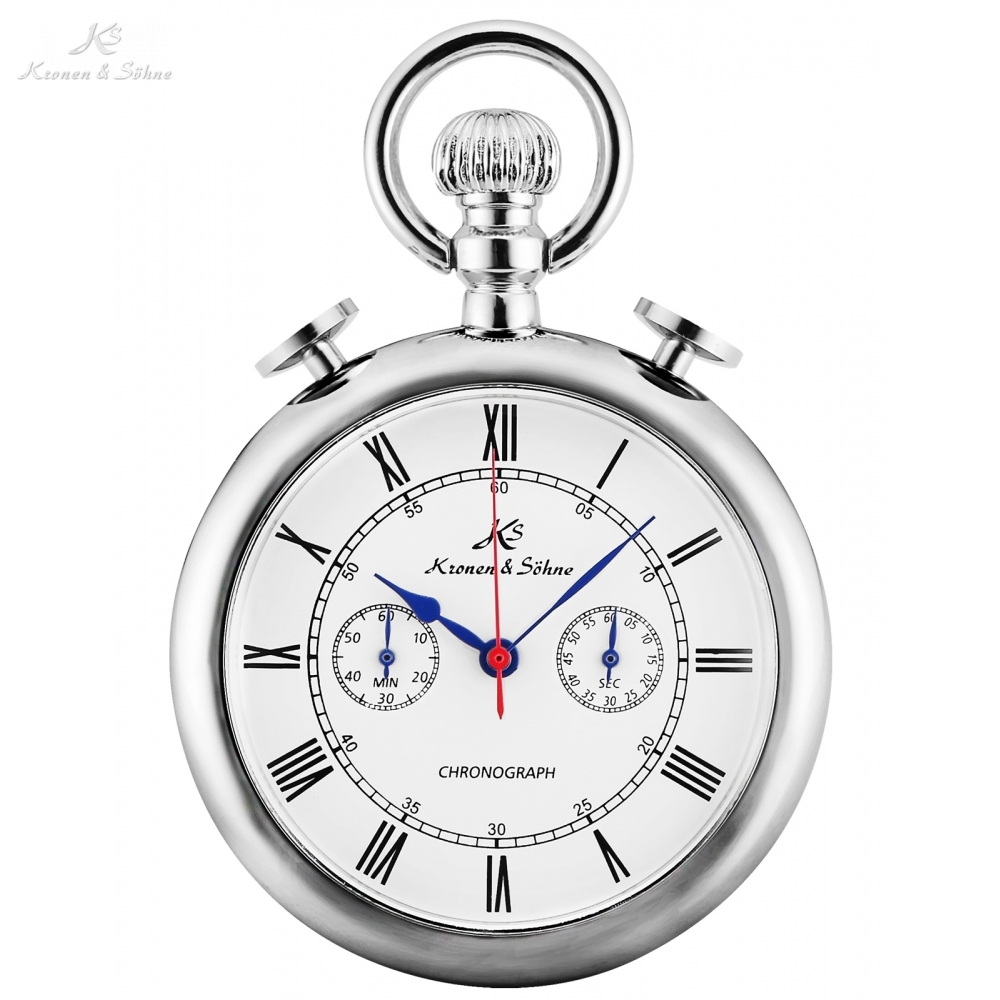 KS Retro Silver Case Roman Number Round Face Chains Quartz Chronograph Clock Men Collection Relogio Vintage Pocket Watch /KSP092