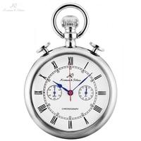 KS Retro Silver Case Roman Number Round Face Chains Quartz Chronograph Clock Men Collection Relogio Vintage Pocket Watch /KSP092