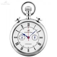 KS Retro Silver Case Roman Number Round Face Chains Quartz Chronograph Clock Men Collection Relogio Vintage