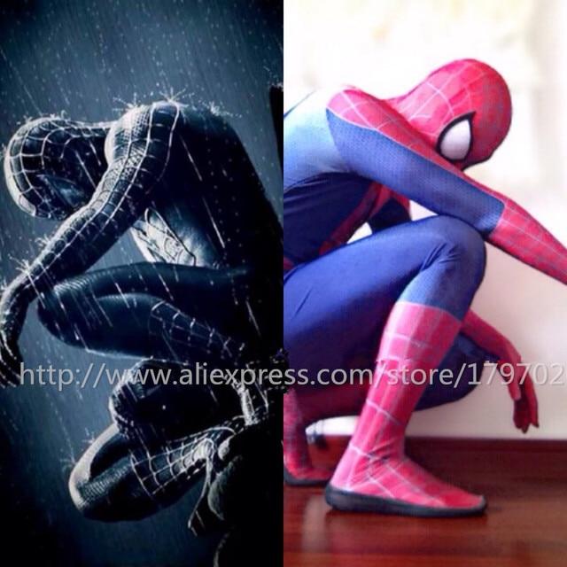 Halloween Superhero Amazing Spiderman Pattern Zentai Suits, Aveners Women Men Kids Spiderman Costume With Eyemask and Shoes