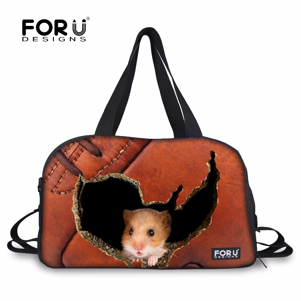 FORUDESIGNS 3D Luggage Travel Bags for Women Men Travel Bag Female Duffel Tote Large Canvas Hamster Bags Girls Shoulder Handbag