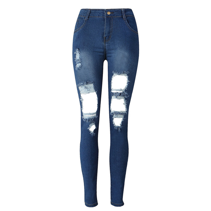 Female Blue Pants Waist Jeans Popular Pencil Washed Women Holes Slim High Trousers Big Stretch Street Ripped Denim Yzq6azw