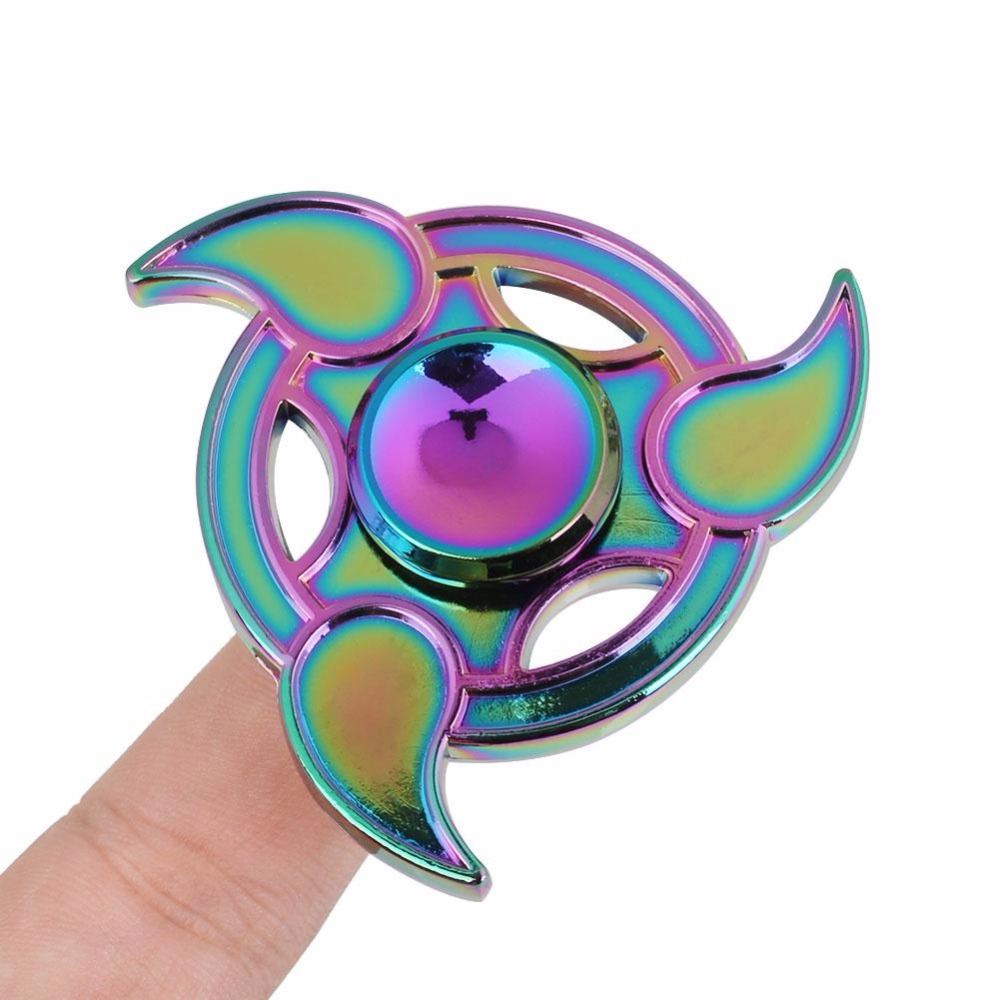 Rainbow Fidget Spinner Metal Tri-Spinner EDC Hand Finger Spinner for Autism and ADHD Focus Anxiety Relief Stress Fidget Toys pudcoco metal boys girls rainbow fidget hand finger spinner focus edc bearing stress toys kids adults
