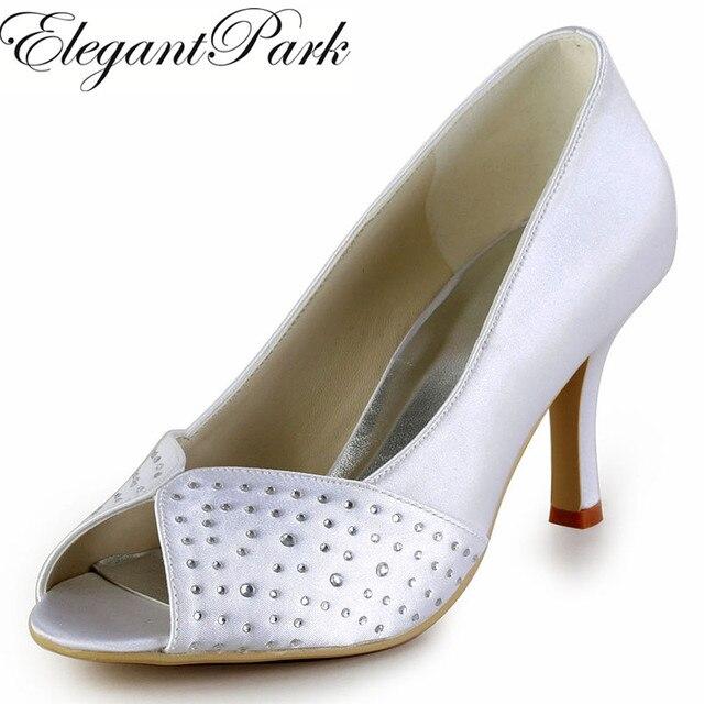Woman Shoes EP2076 White Ivory Silver Peep Toe Rhinestone 3